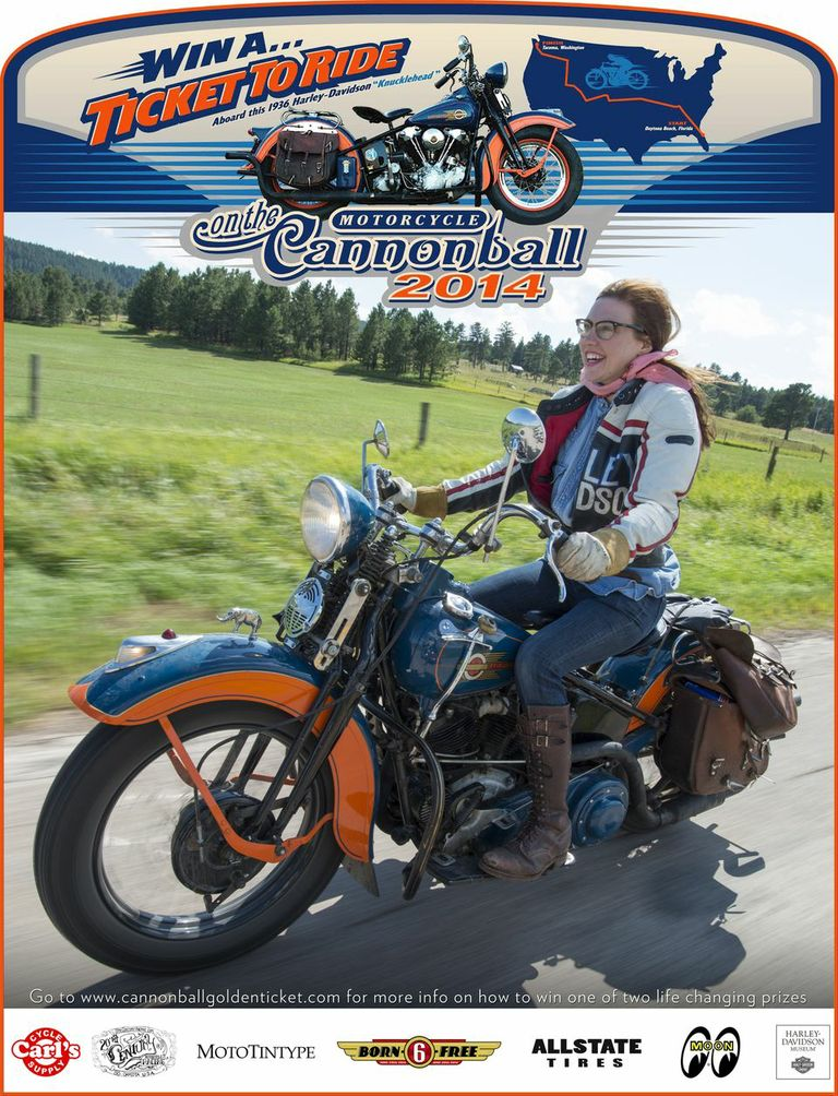 Win a ticket to ride on Matt Olsen's 1936 Harley-Davidson in the 2014 Motorcycle Cannonball!